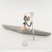 Steelman paddling his kayak metal art figurine