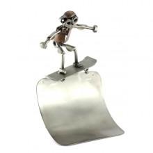 Steelman Skateboarder on top of the Half-Pipe metal art figurine