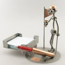 A photo of a Steelman golfer metal art figurine with a Desk Organizer