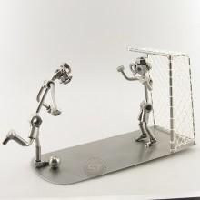 Steelman Soccer Goal Keeper defending his goalie metal art figurine