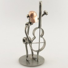 Steelman playing his Upright Double Bass metal art figurine