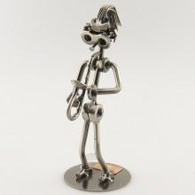 Steelman Saxophone Player playing his saxophone metal art figurine