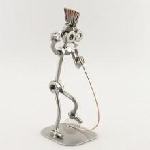 Steelman Singer in a mohawk holding a microphone metal art figurine