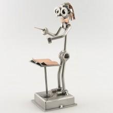 Steelman Orchestra Conductor waving her baton metal art figurine