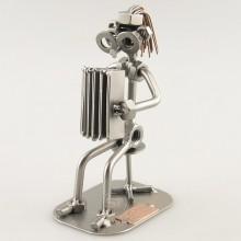 Steelman Accordion Player metal art figurine