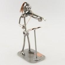 Steelman Violinist playing his violin metal art figurine