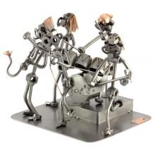 Five Steelman musicians in a Rockband metal art figurine