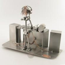 Steelman DJ on the turntables metal art figurine