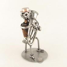 Steelman Tubist playing his tuba metal art figurine