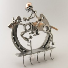 Horseshoe Keyholder with a Steelman on a horse metal art