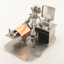 Steelman Gynaecologist doing an ultrasound to a patient metal art figurine