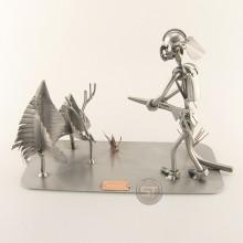 Steelman Fireman putting out a Forest Fire metal art figurine