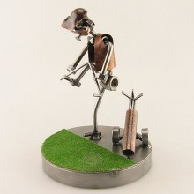 Frustrated Steelman Golfer Bending His Club on the Green metal art figurine