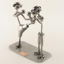 Two Steelman in a Kickboxing match metal art figurine