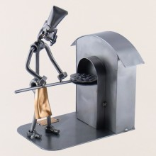Steelman Pizza Chef pulling out a pizza from his brick oven metal art figurine