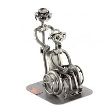 Male Steelman Nurse with a patient in a Wheelchair metal art figurine