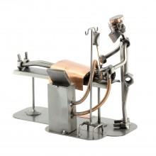 Steelman Anesthesiologist with a patient metal art figurine