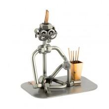Steelman in a relaxed yoga pose metal art figurine