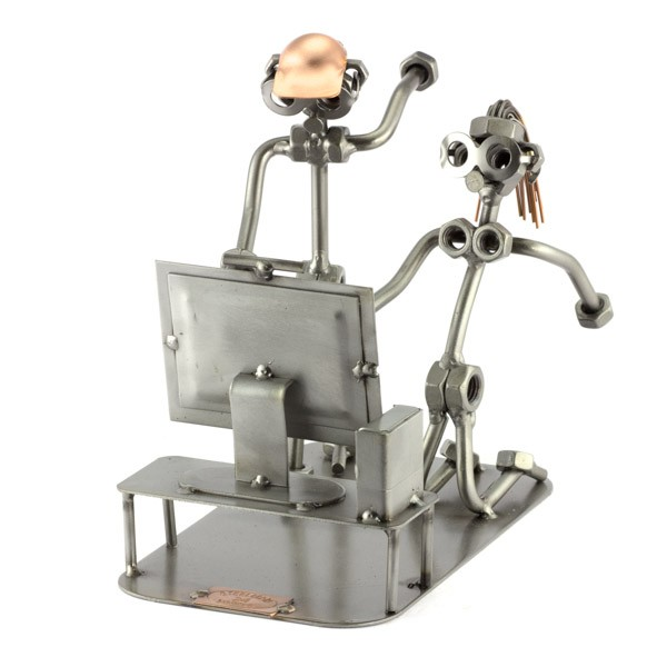 Two Steelman in a Game Console match metal art figurine