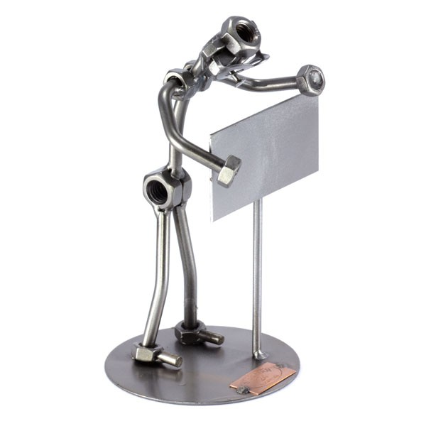 Steelman holding a blank name sign metal art figurine